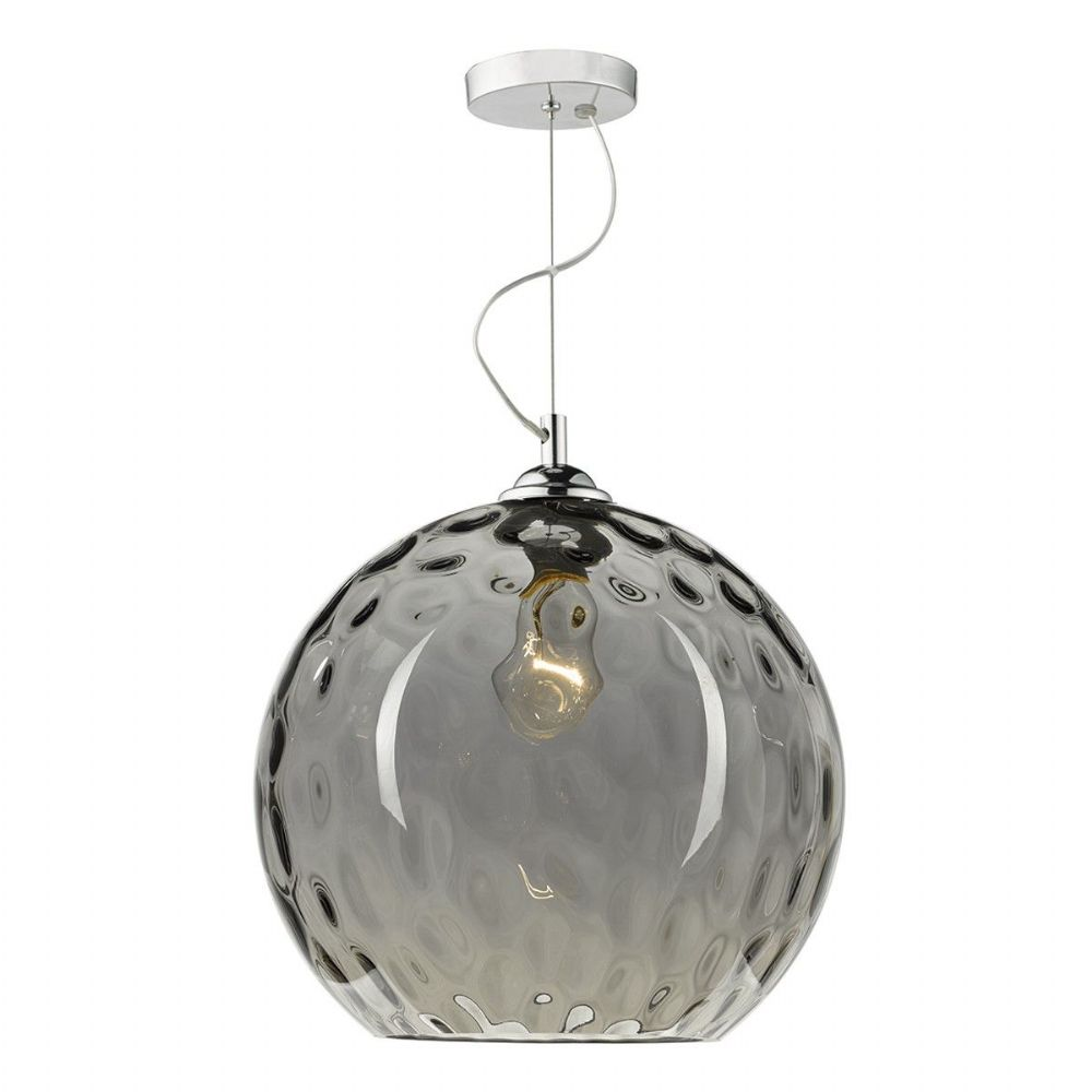 Aulax 1 Light Pendant Smoked Dimple Effect (Class 2 Double Insulated) BXAUL0110-17